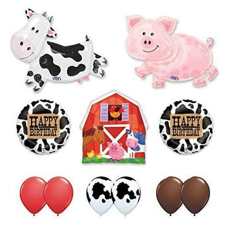 Barn Farm Animals Birthday Party Cow, Pig, Barn Balloons ...