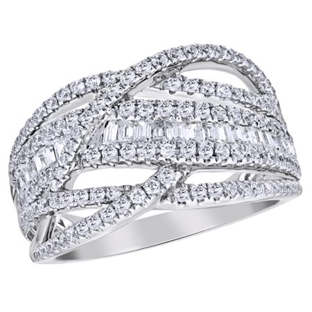 Round & Baguette Shape White Natural Diamond Loose Braid Ring in 10K White Gold (1 cttw)
