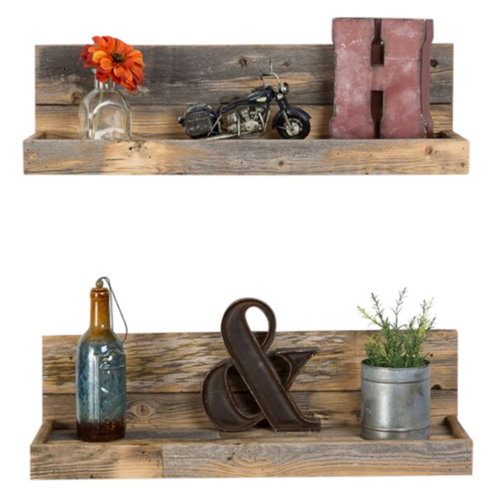 Del Hutson Reclaimed Wood Floating Shelves - Set of 2
