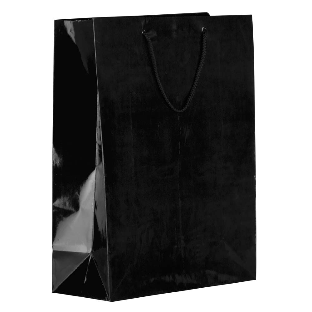 """JAM Paper Gift Bag, X-Large, 12 1/2"""" x 17"""" x 6"""", Black Glossy, Sold Individually"""