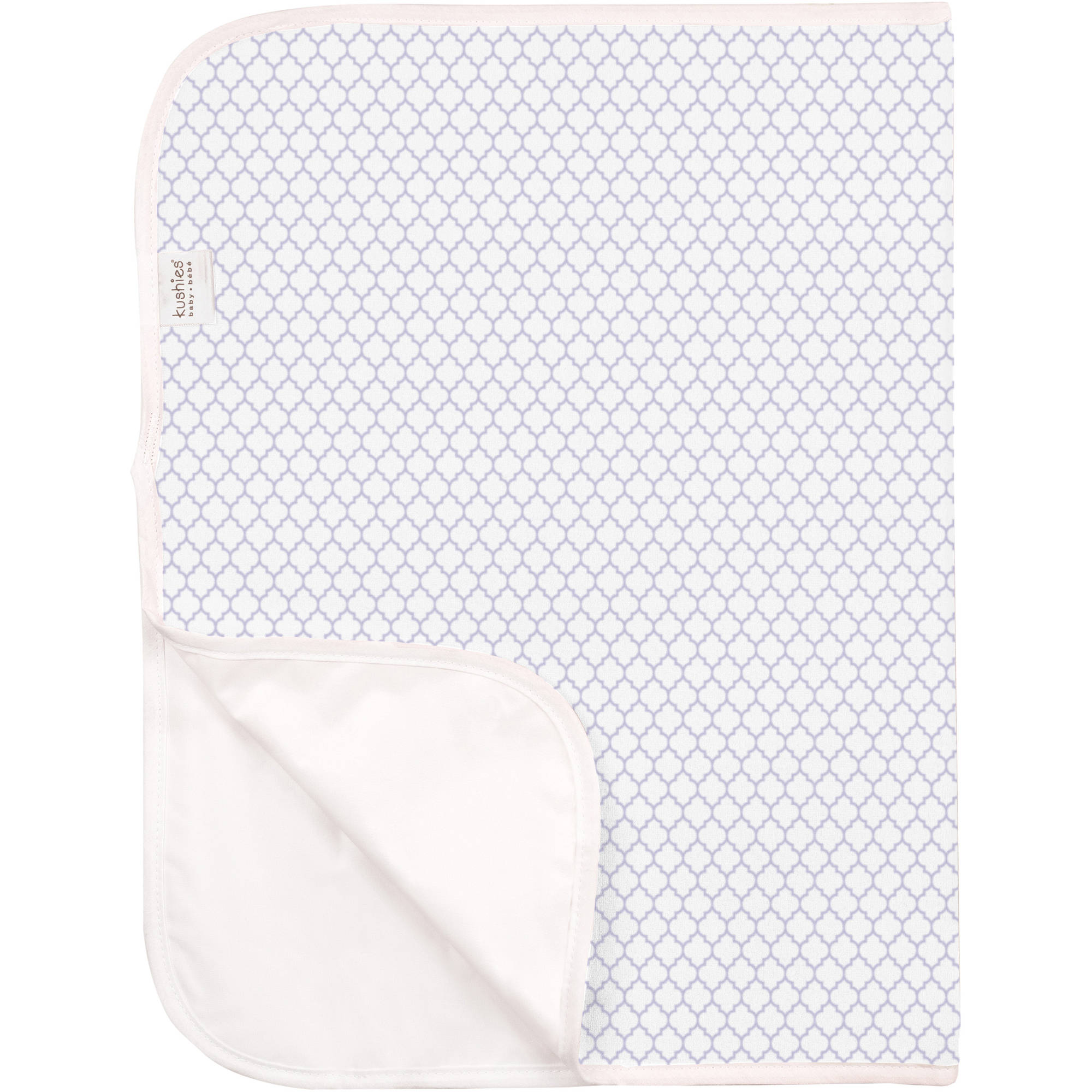 Deluxe Terry Change Pad, White/Lilac Ornament