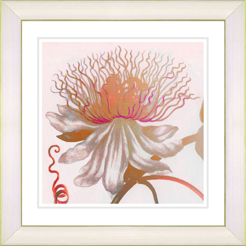 Studio Works Modern 'Pastel Bonobo Flower' by Zhee Singer Framed Painting Print in Orange