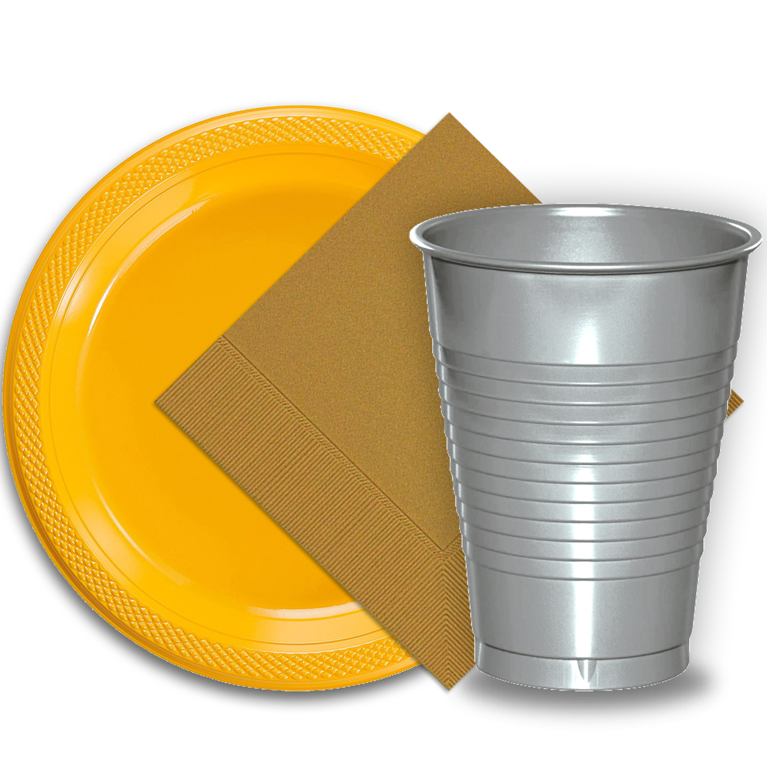 "50 Yellow Plastic Plates (9""), 50 Silver Plastic Cups (12 oz.), and 50 Gold Paper Napkins, Dazzelling Colored Disposable Party Supplies Tableware Set for Fifty Guests."
