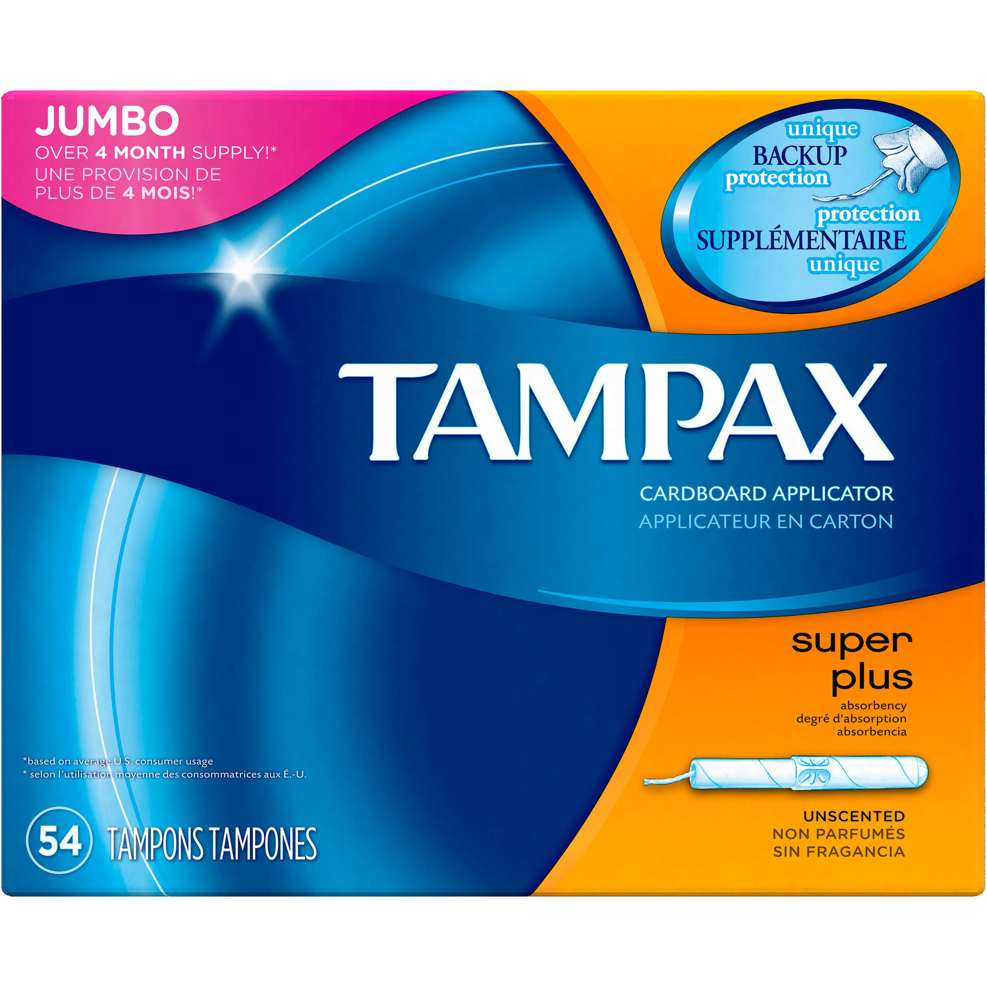 Tampax Super Plus Cardboard Applicator Tampons, 54 count