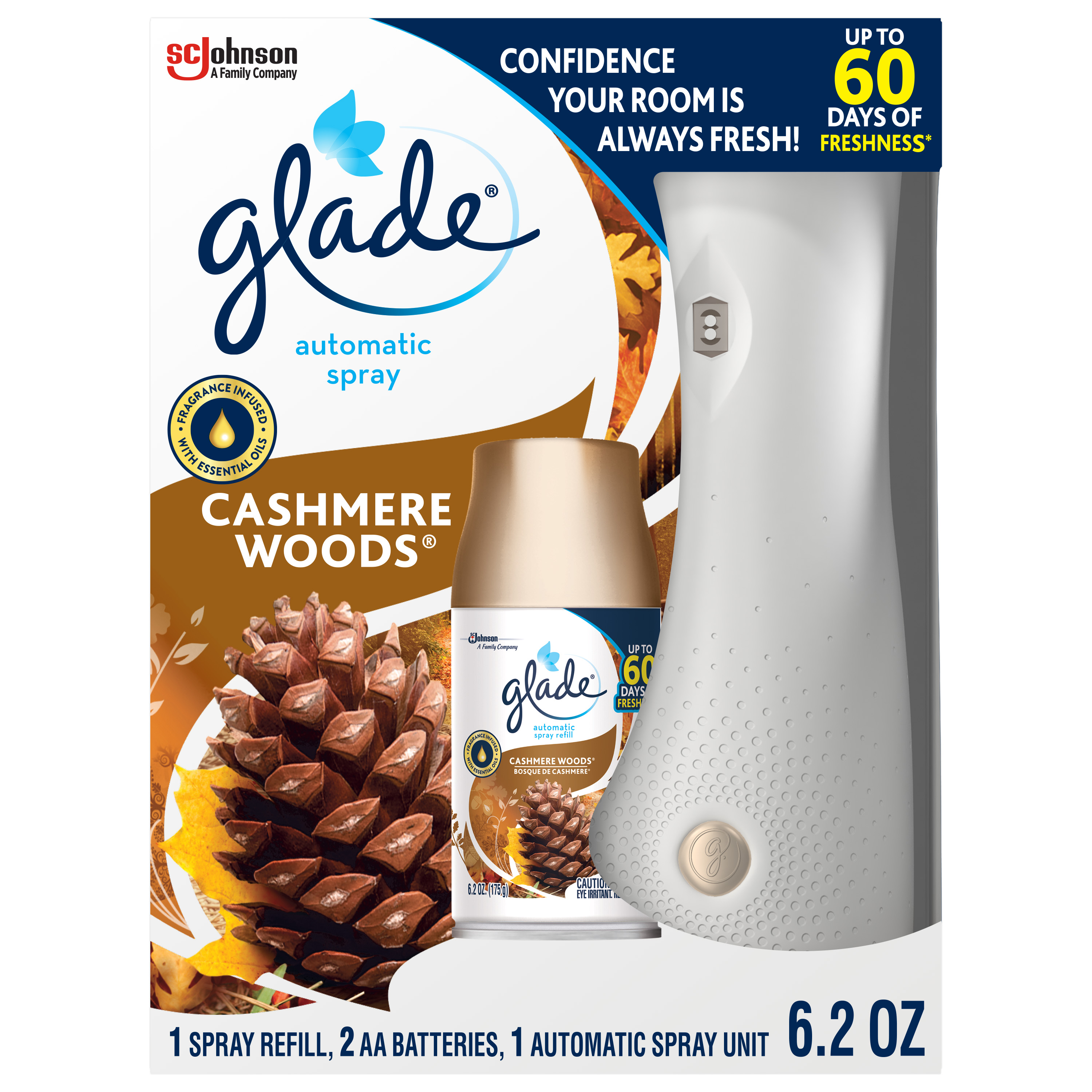 Glade Automatic Spray 1 Warmer + 1 CT Refill Starter Kit, Cashmere Woods, 6.2 OZ. Total, Air Freshener Infused with Essential Oils