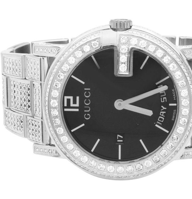 Gucci White Gold YA101305 40 MM Full Diamond Custom Gucci Watch 7 Ct