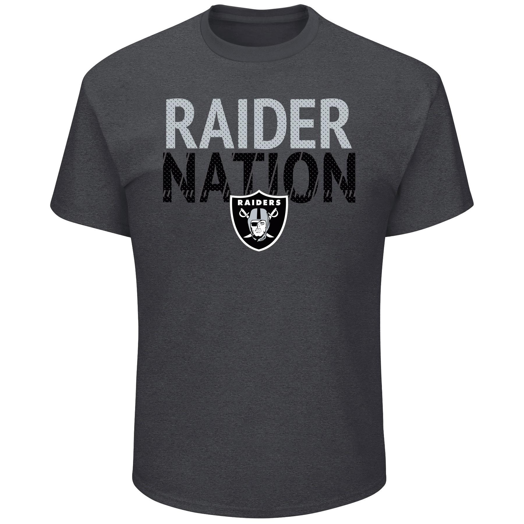 Men's Majestic Heathered Charcoal Oakland Raiders Safety Blitz T-Shirt