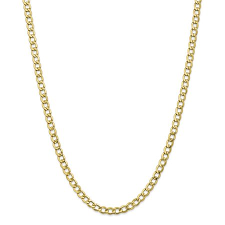 Roy Rose Jewelry 10K Yellow Gold 5.25mm Semi-Solid Curb Link Chain Necklace ~ Length 18'' inches (Gold Chains 18inch)