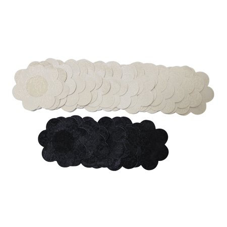 - 15 Pairs of Flower Pasties Breast Nipple Cover Stick on Bra Disposable-10 Beige Pairs, 5 Black Pairs