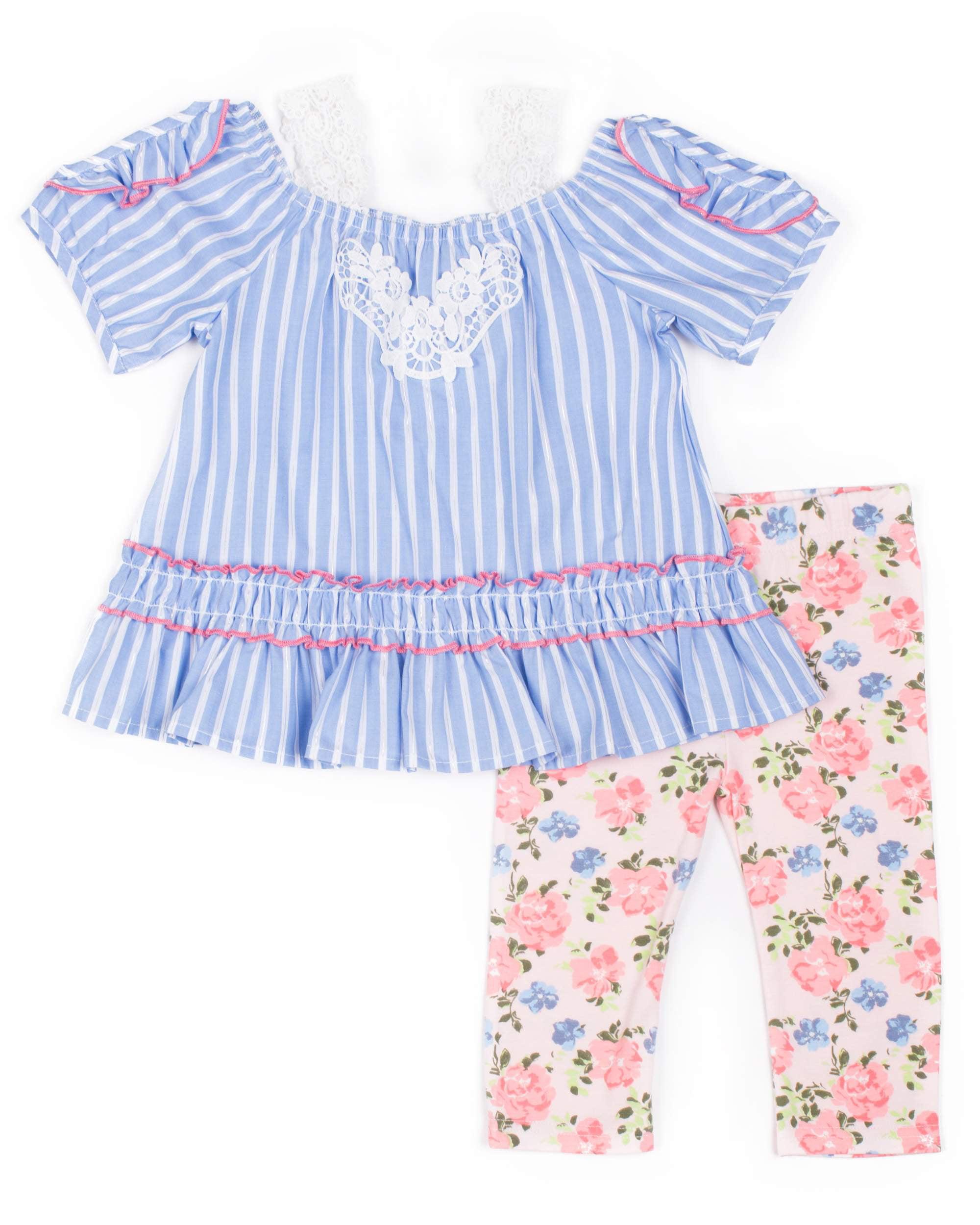 Long Sleeve Lurex Stripe Top & Floral Printed Capri, 2pc Outfit Set (Baby Girls & Toddler Girls)