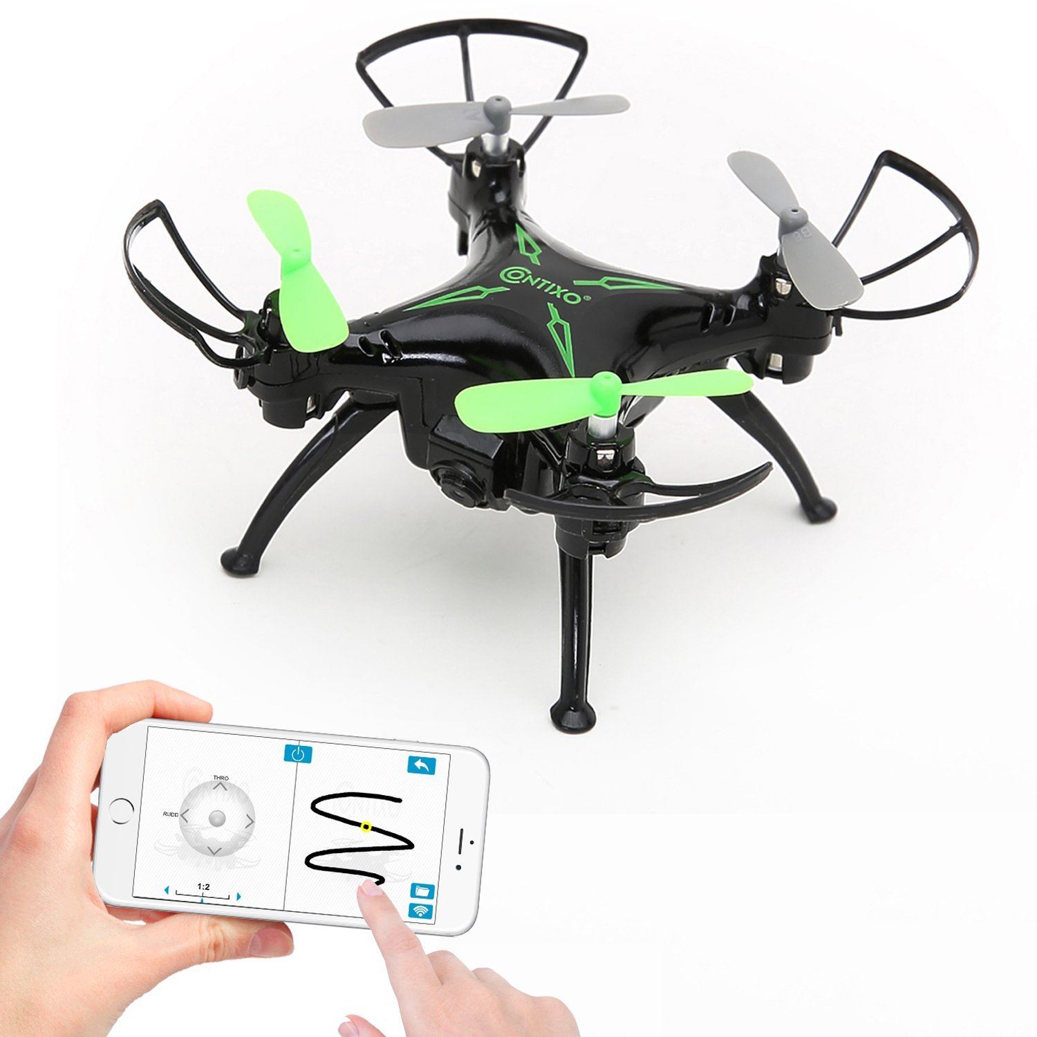 Contixo F3 World's Easiest Fly App Track-Controlled Mini Drone 720P HD WiFi Camera, 2.4GHz 4CH 6-Axis Gyro RC Quadcopter, Gravity Sensor, One-Key Return, Headless Mode
