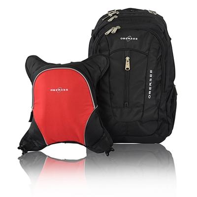 Obersee Bern Diaper Bag Backpack and Cooler, Black Red by Obersee