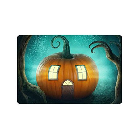 CADecor Pumpkin Haunted House Door Mat Home Decor, Halloween Tree Indoor Outdoor Entrance Doormat 23.6x15.7 - Halloween Entrance