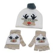 Boys Girls White Convertible Mittens Reindeer Hat Set