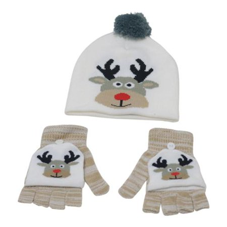 26fbf68bb75 Gold Medal - Boys Girls White Convertible Mittens Reindeer Hat Set -  Walmart.com