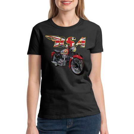 BSA Motorcycles British Flag Women's Black T-shirt NEW Sizes S-2XL