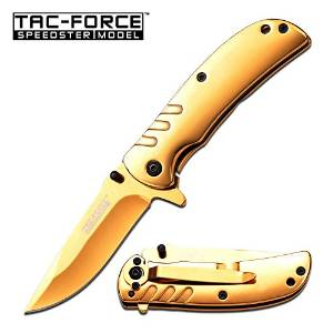 Tac Force Assisted Open Golden Ti-coating Stainless Small Hunting Camping Pocket