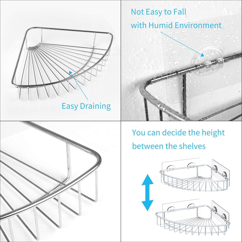 SMARTAKE 2-Pack Corner Shower Caddy Stainless Steel Adhesive Bathroom Shelf