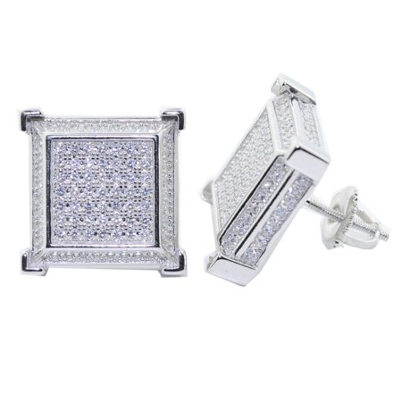 Cube Sterling Silver Earrings - 14.5MM Wide Cubic Zarconia Stud Earrings Sterling Silver Iced Out Cube