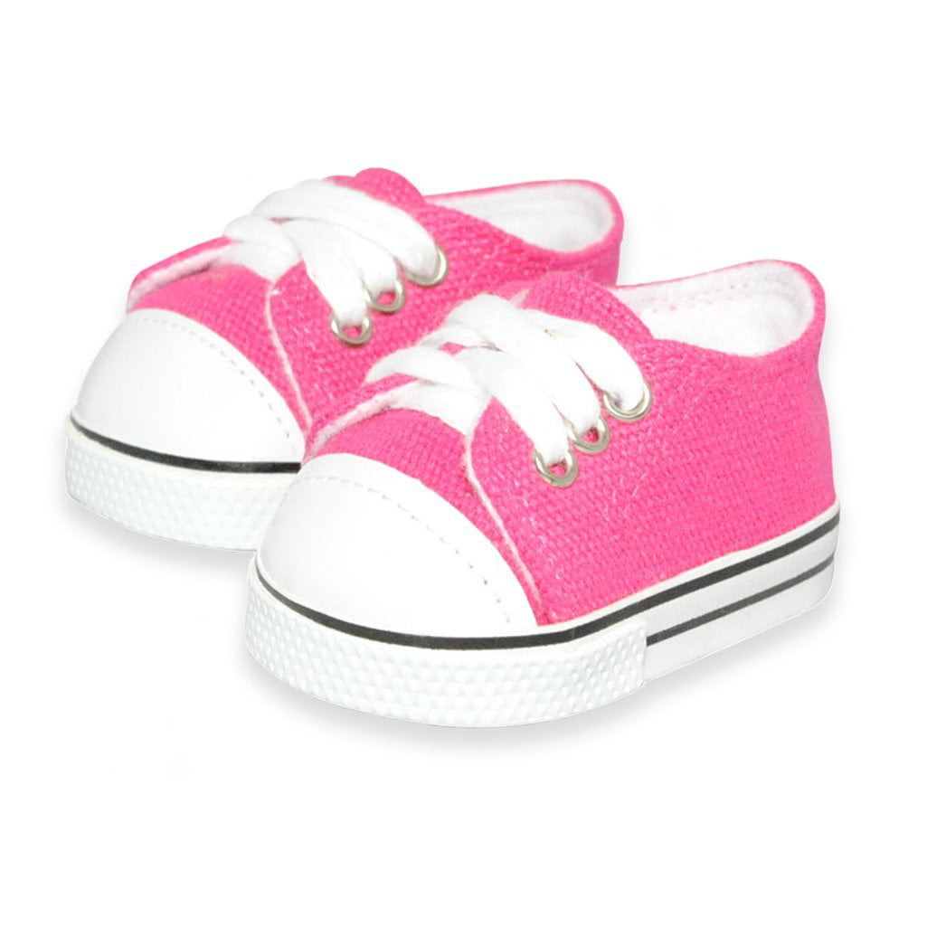 Doll Clothes Pink Sneakers Shoes Fits American Girl & Other 18 Inch Dolls by Pink Butterfly Closet