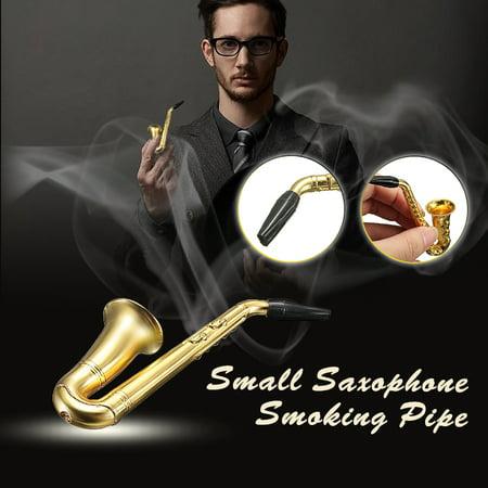 Fashion Small Saxophone Smoking Pipe Weed Tobacco Pipe Metal Pipes + Mesh Filter for Men - image 3 de 8