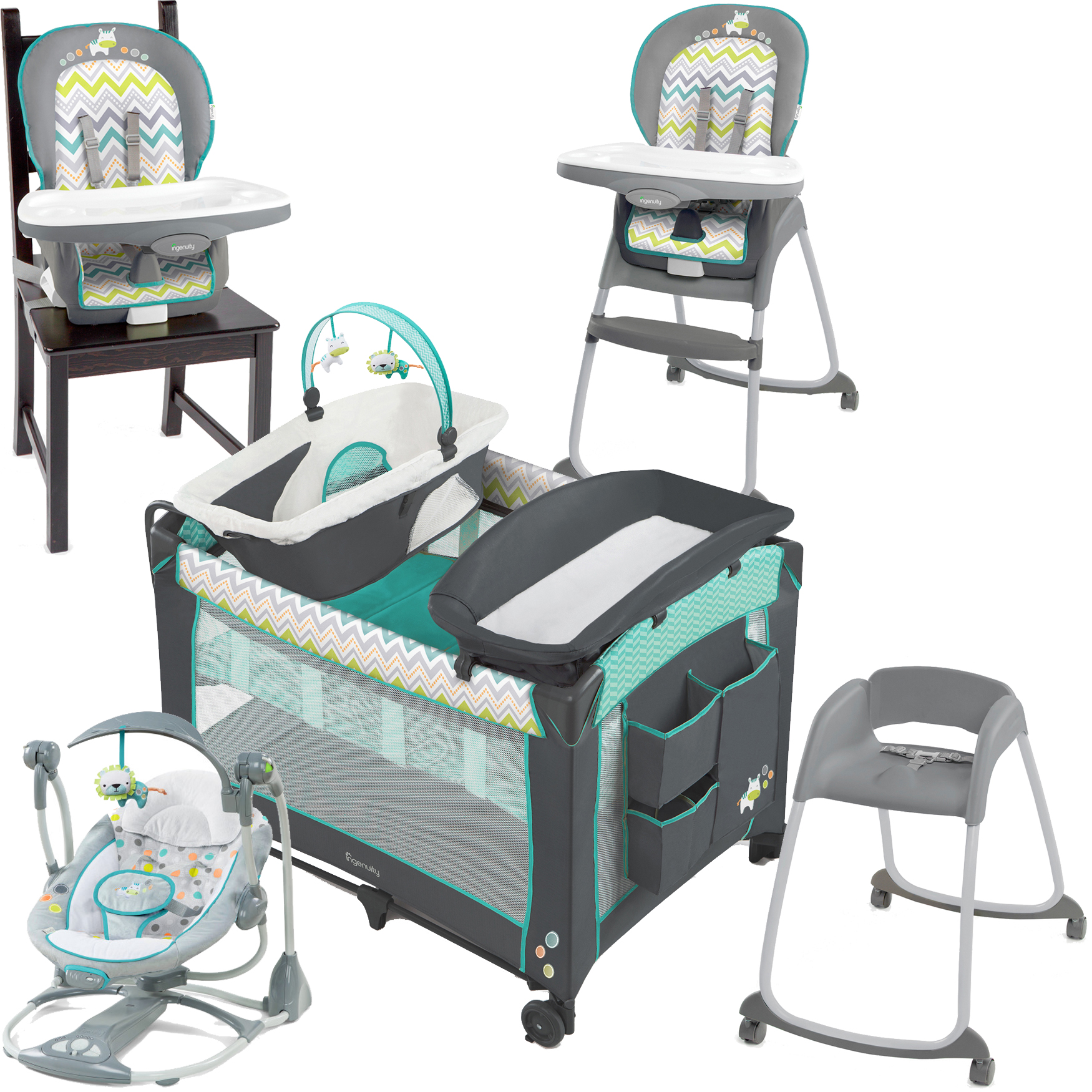 Ingenuity Ridgedale Collection Playard Swing and High Chair