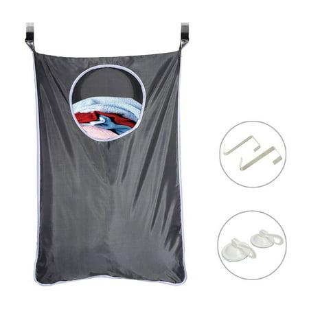 Laundry Hamper Bag, Magicfly Space Saving Hanging Laundry Nook Door with 2 Stainless Steel Door Hooks & 2 Sucker Hooks ()