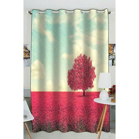 PHFZK Landscape Window Curtain, Beautiful Tree in a Pretty Field Window Curtain Blackout Curtain For Bedroom living Room Kitchen Room 52x84 inches One Piece ()