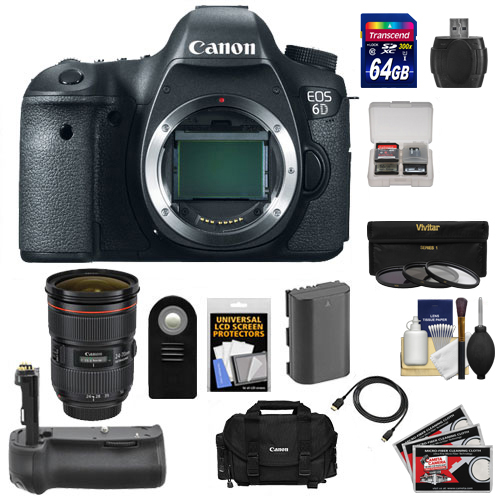 Canon EOS 6D Digital SLR Camera Body with EF 24-70mm f 2.8 L II USM Lens + 64GB Card + Battery + Grip + Case +... by Canon