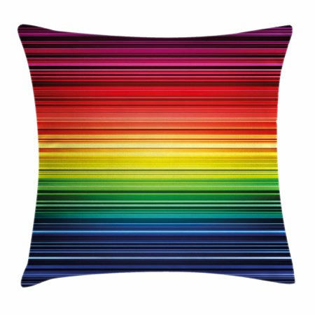Abstract Throw Pillow Cushion Cover, Digital Rainbow Stripes with Gradient Neon Effects Featured Horizontal Bands Print, Decorative Square Accent Pillow Case, 18 X 18 Inches, Multicolor, by Ambesonne