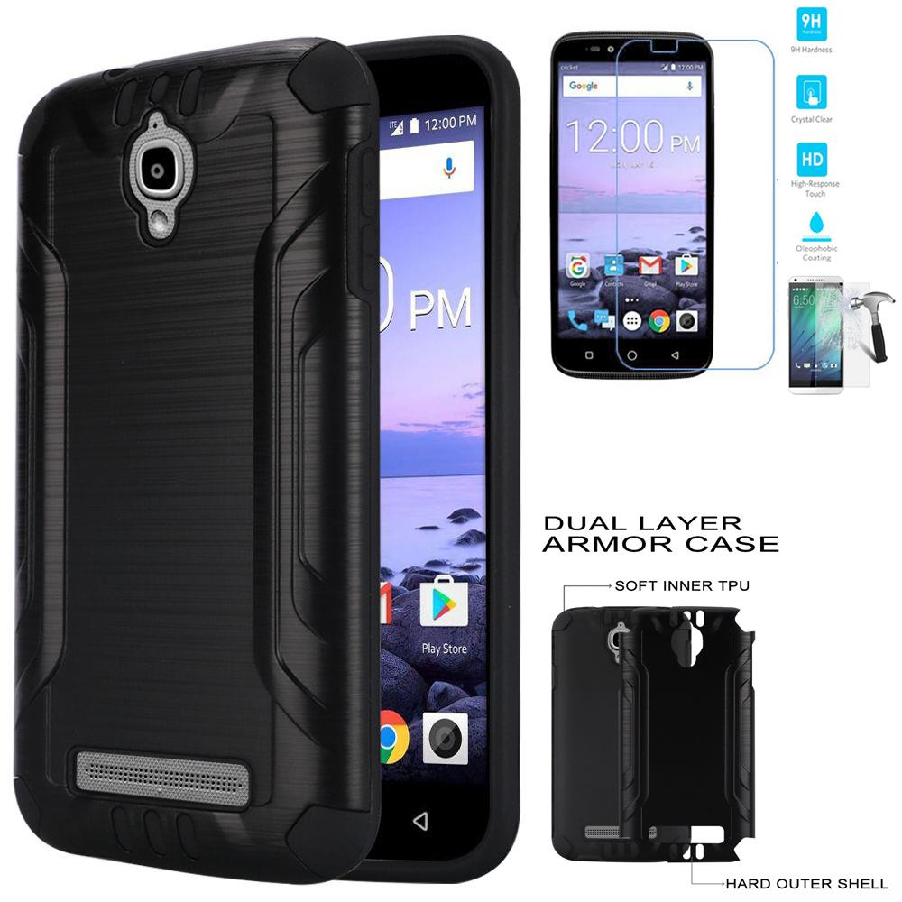 Phone Case for Coolpad Canvas DCPN5002 (Cricket Wireless) Tempered Glass Screen with Cover (Combat Black-Black TPU/ Tempered Glass)