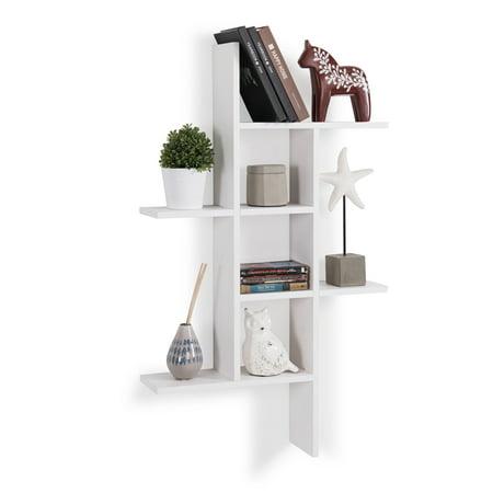 Danya B. Cantilever Wall Shelf - White (Danya B Two Tier Industrial Pipe Wall Shelf)