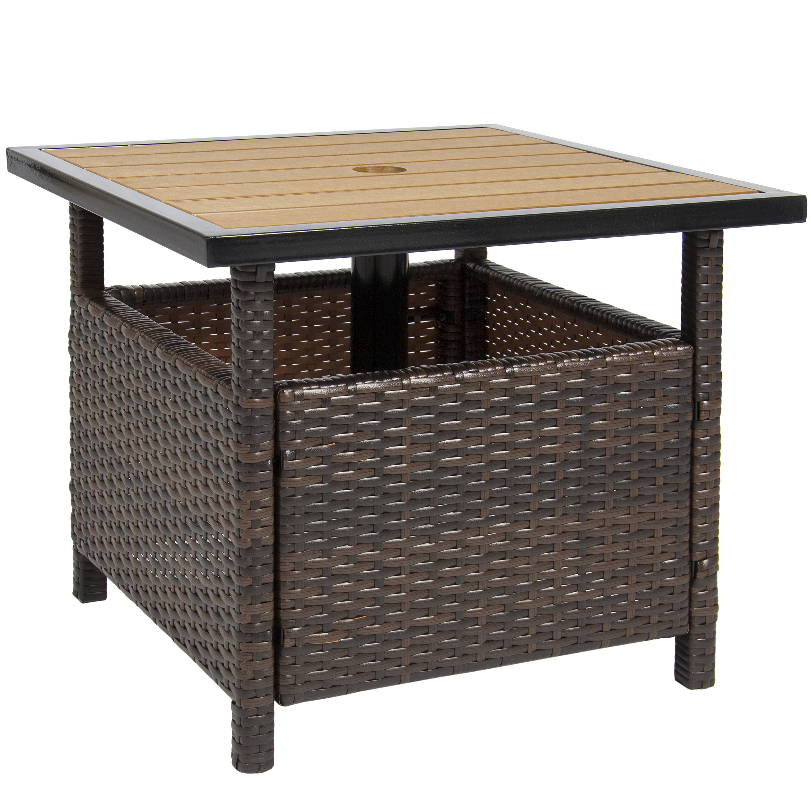 Best Choice Products Wicker Patio Umbrella Stand Table with Umbrella Hole Outdoor Furniture for Garden  sc 1 st  Walmart & Best Choice Products Wicker Patio Umbrella Stand Table with Umbrella ...