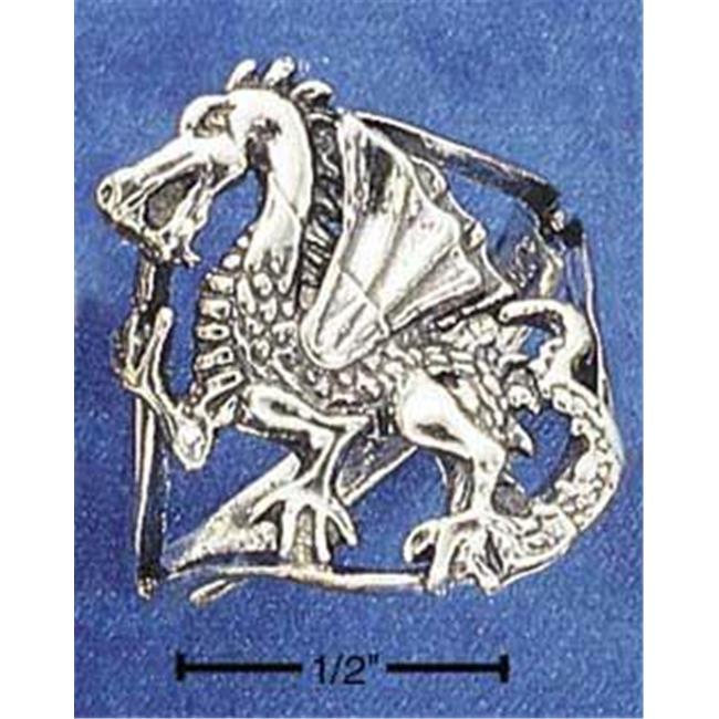 Sterling Silver Dragon On Open Shank Ring - Size 8