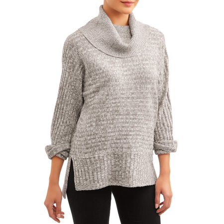 What's Next Women's Ribbed Cowl Neck Sweater Cable Cowl Neck Sweater