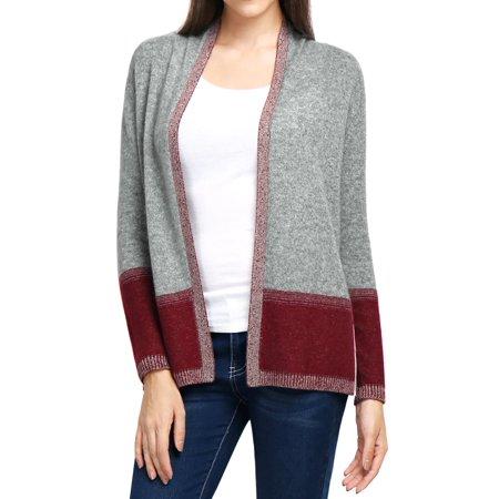 - Unique Bargains Women's 100% Cashmere Contrast Color Plaited Cardigan Sweater