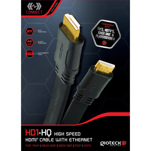 Gioteck HD-1 High Speed HDMI Cable For HDTV Xbox One/360 PlayStation 4/3 PS4/PS3