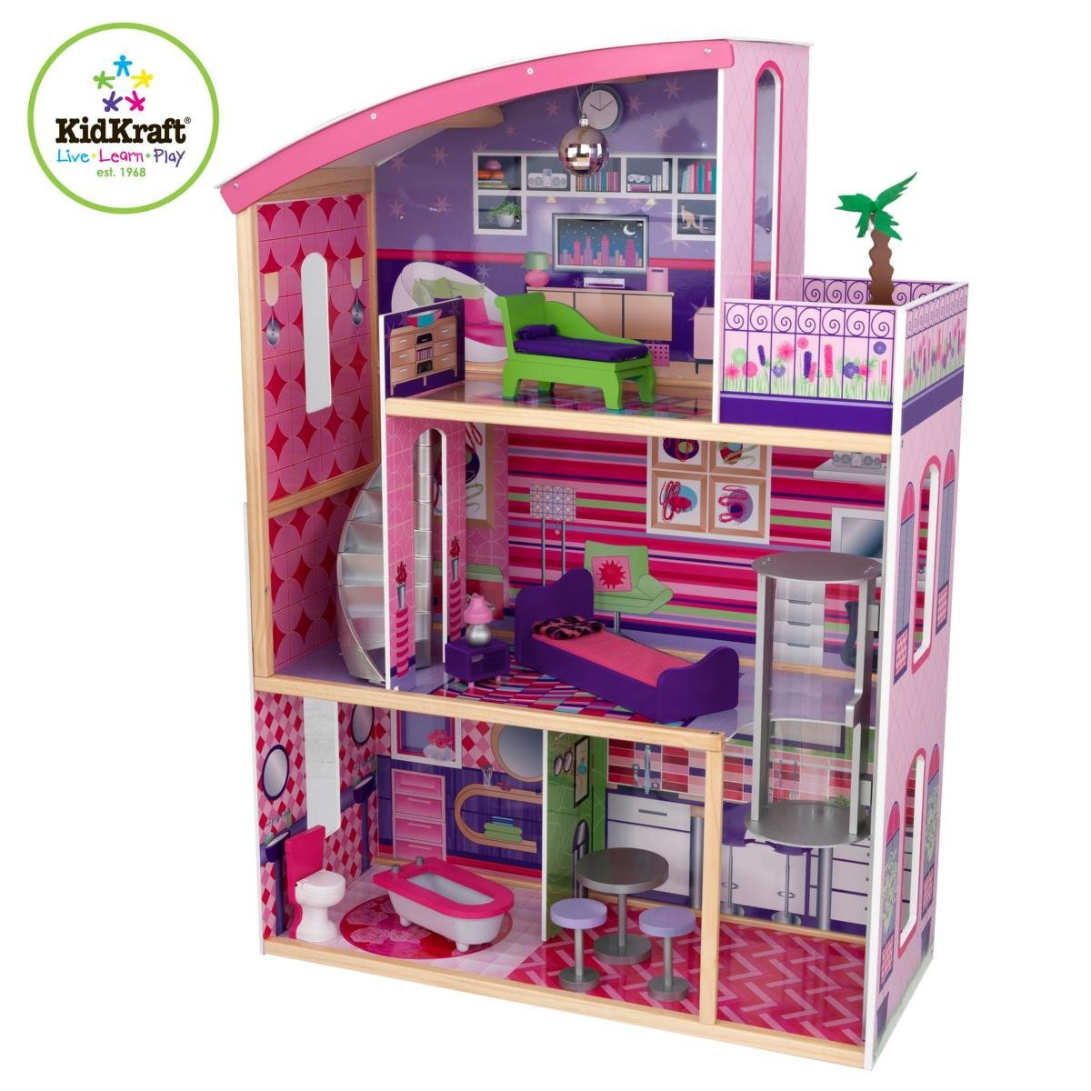 kidkraft super model wooden dollhouse with 11 pieces of