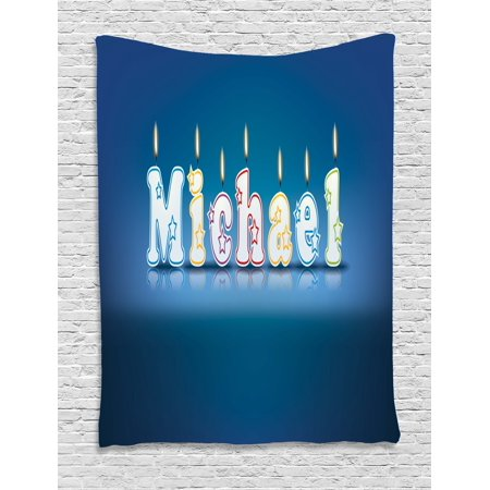 Michael Tapestry, Kids Boys Name Letter Design for Delicious Birthday Party Cake Decoration, Wall Hanging for Bedroom Living Room Dorm Decor, 40W X 60L Inches, Blue and Multicolor, by Ambesonne