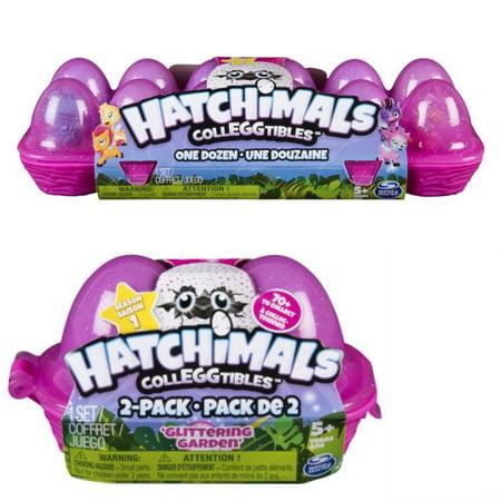 Hatchimals Colleggtibles Egg Carton 12 Pack And 2 Pack Glittering Garden Bundle