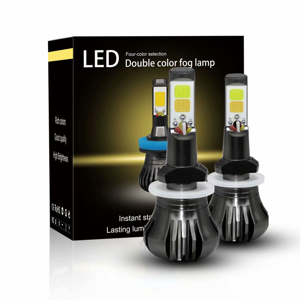 2PCS 880/881 LED Lamp Headlight Driving Fog Light Bulb for Car, White + Yellow