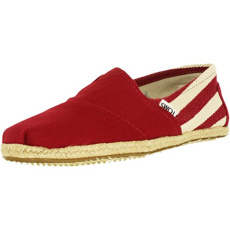Toms Men's Classic Canvas Red Stripe University Ankle-High Flat Shoe - 11.5M (Cheap Toms For Toddlers)