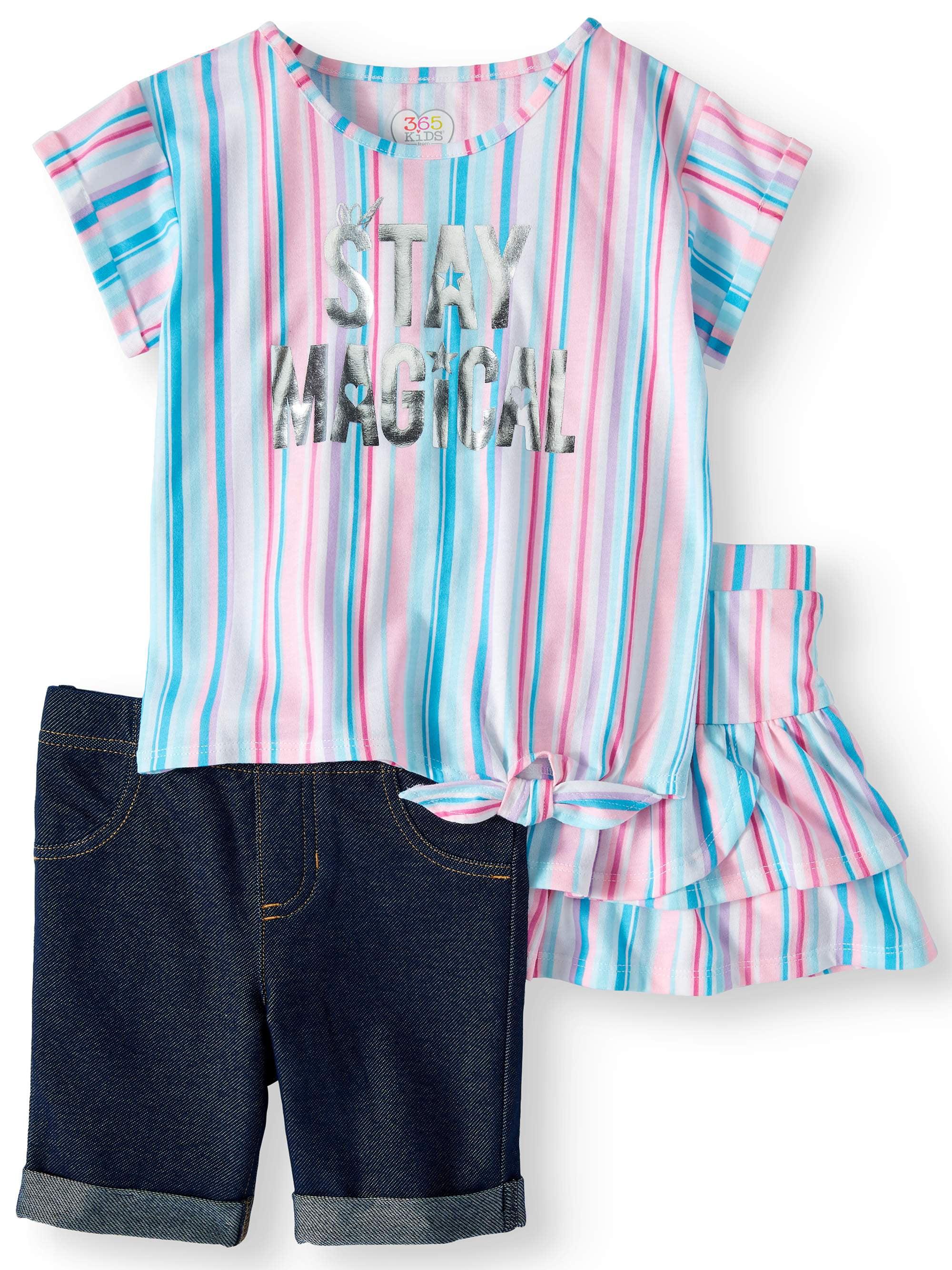 Side-Tie Top, Bermuda Short & Skort, 3-Piece Mix and Match Outfit Set (Little Girls & Big Girls)
