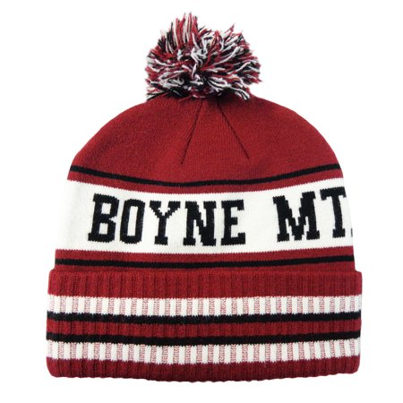 6e972513fe6 NEW Pukka Boyne Mountain Pom Pom Burgundy Black White Winter Beanie Hat -  Walmart.com