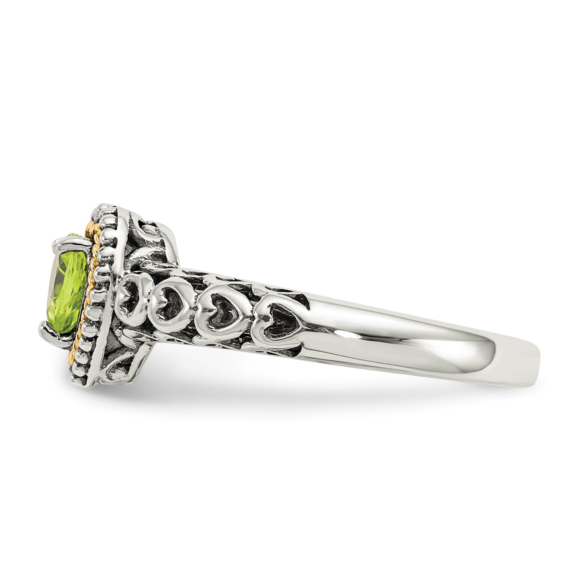 925 Sterling Silver 14k Green Peridot Band Ring Size 6.00 S/love Gemstone Fine Jewelry Gifts For Women For Her - image 5 de 6