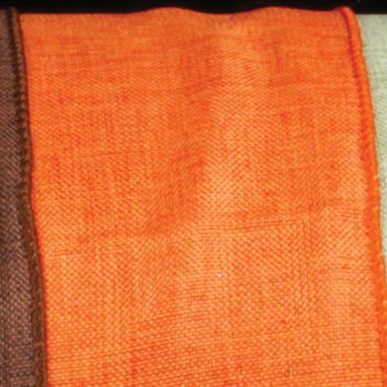 """Orange Wired Fine Linen Burlap Craft Ribbon 1.5"""" x 40 Yards"""