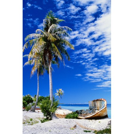 French Polynesia Beach With Boat Wreck On Shore Canvas Art - Peter Stone Design Pics (12 x 19)