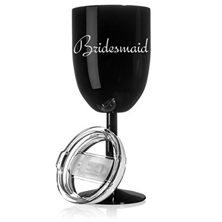Bridesmaid Tumblers (14 oz Double Wall Vacuum Insulated Stainless Steel Wine Tumbler Glass with Lid Wedding Bachelorette Bridesmaid)