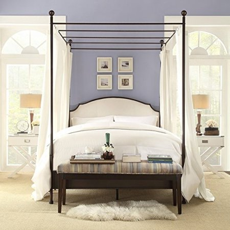 andover cream white curved top cherry brown metal canopy poster bed queen