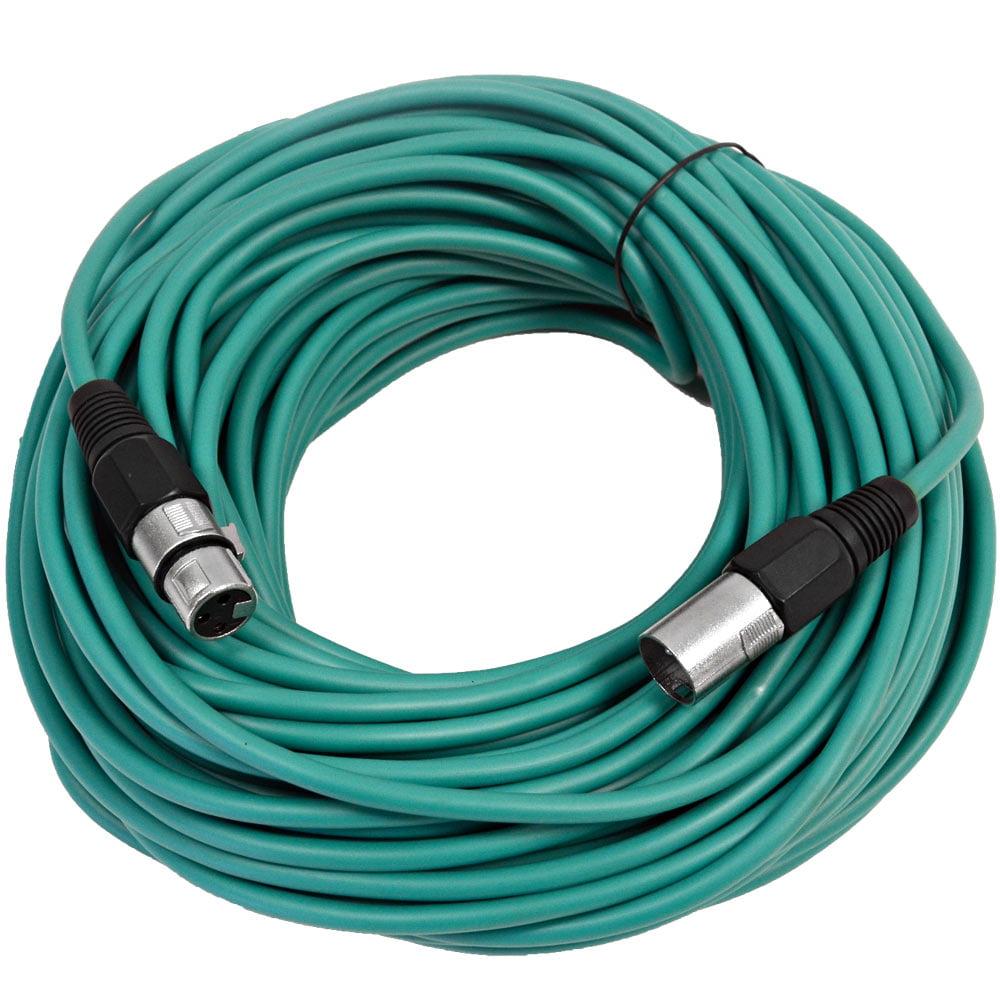 Seismic Audio  Green 100' XLR Microphone Cable Mic Cord Green - SAXLX-100Green